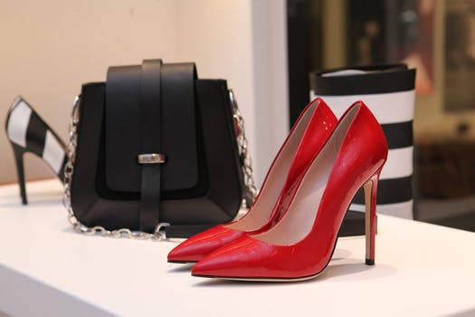 Red Fashion Shoes on a white display